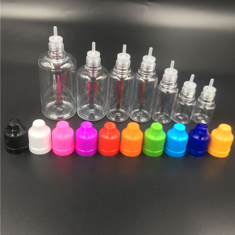 100pcs Empty Bottle Clear 10ML Liquid Needle Bottles Plastic Bottles With Childproof Cap With Long Thin Tip Dropper Bottles