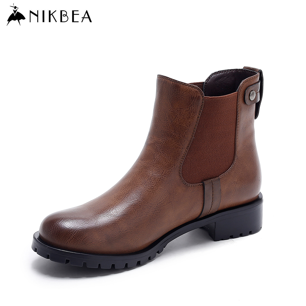 Nikbea Vintage Chelsea Boots Women Ankle Boots Flat 2016 Autumn Shoes Winter Booties Ladies Pu Leather Boots Slip on Botas Mujer front lace up casual ankle boots autumn vintage brown new booties flat genuine leather suede shoes round toe fall female fashion