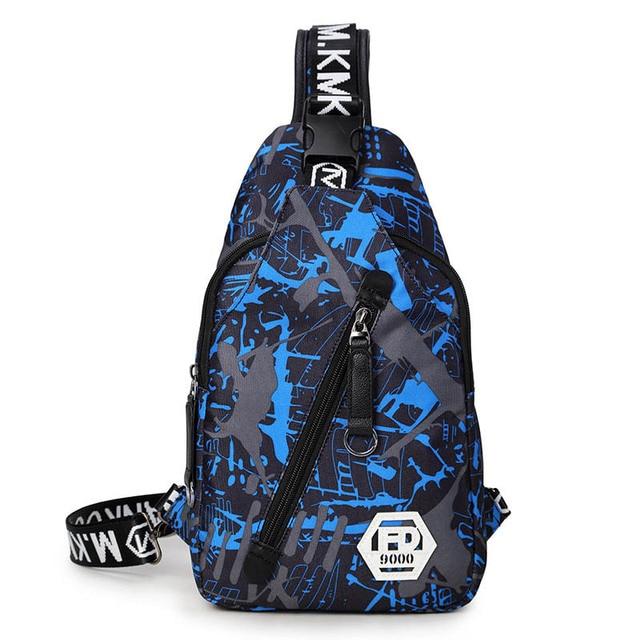 Bleu camouflage mâle sac de poitrine imperméable oxford tissu une épaule femmes sacs de voyage hommes décontracté fronde sac à bandoulière