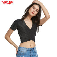 Tangada Deep V cross Crop T shirt Short Sleeve top tees Stretch Sexy Sequins party Shirts blusas club tops For Female Summer