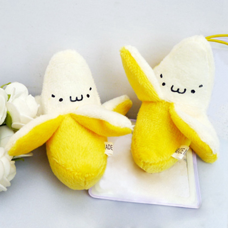 Hot Super Cute Small String Keychain High Quality Plush Doll Toy Little Yellow Banana Soft Safety Comfortable Plush Stuffed Toy