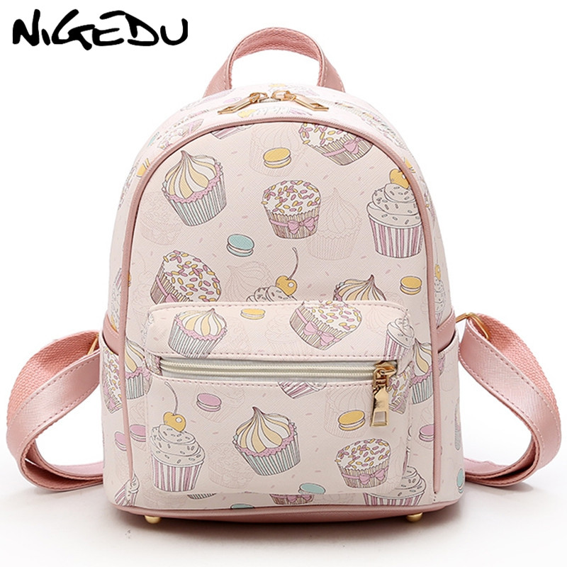 Cute Printing Feminine Backpack Female Small Backpacks For Teenage Girls Rucksack Sac A Dos Women Pu Leather Shoulder Bag Bao