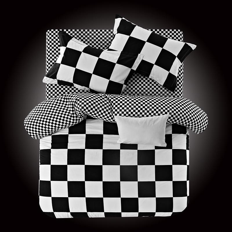 2016 new 100 cotton bedding sets classic black white striped plaid bedding set duvet quilt. Black Bedroom Furniture Sets. Home Design Ideas