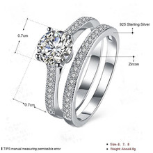 2018 BFQ Promotion Bezel Setting S925 Sterling Engagement Ring Sterling Silver Diamond Ring Set Double Couple Free Shipping