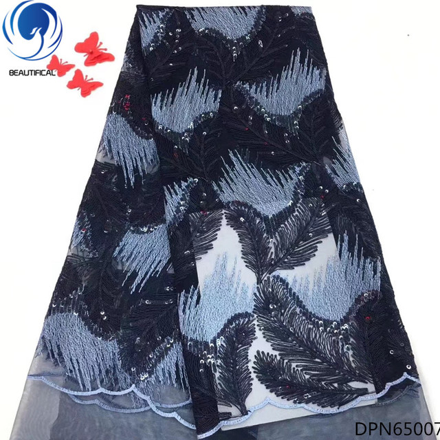 BEAUTIFICAL african french lace luxury lace fabric sequins lace fabric market in dubai fabric for weddings sales 5yards DPN650