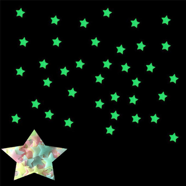 100pcs 3D Stars Glow In The Dark Luminous Fluorescent Three-Color Mixing Wall Stickers Living Home Decor For Kids Rooms #1016