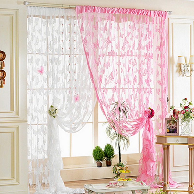 Butterfly Curtains Tulle Window Curtain For Living Room Bedroom Kitchen Curtains Printed Sheer Voile Cortinas Gordijnen