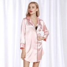 Women Summer Sexy Faux Silk Sleepshirts