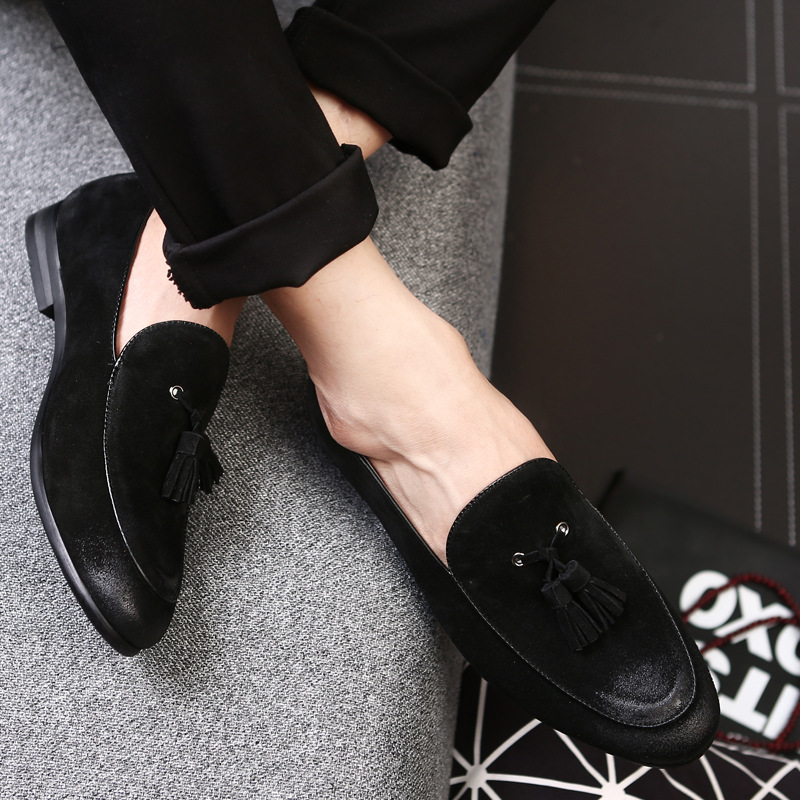 Mens   Suede     Leather   Casual Loafers 2018 New Fashion Classic Men's Tassel Soft Moccasins Man Oxfords Driving Flats Shoes