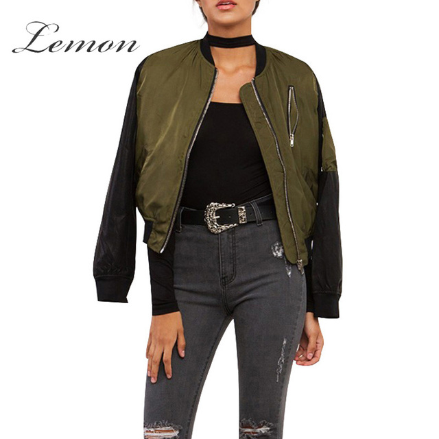 9b793062b52 Lemon Autumn Fashion Jacket Color Block Contrast Zipper Casual Bomber Jacket  Crew Neck Streetwear Long Sleeve