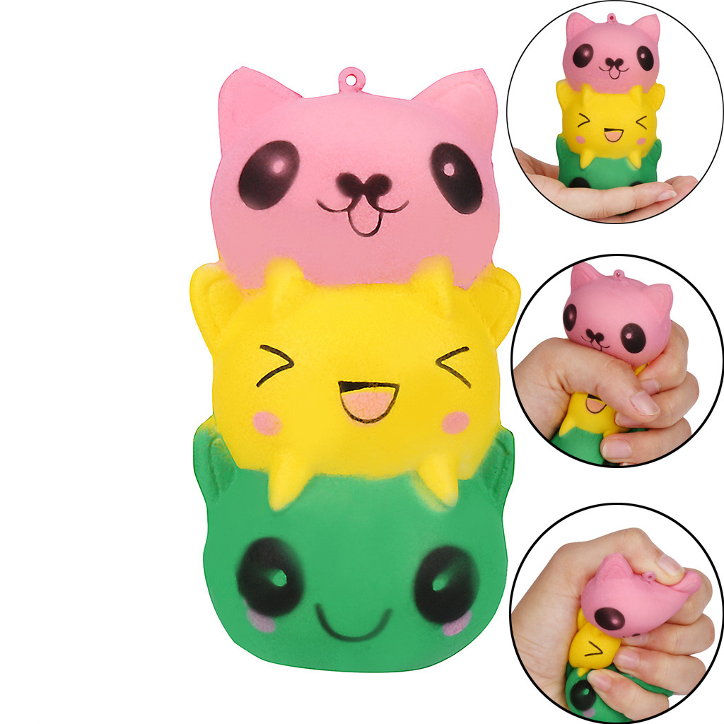 Adorable Mini Cat Soft Squishies Doll Kids Gift Cartoon Slow Rising Cream Stress Relief Soft Squeeze Toy Small For Baby Toddler