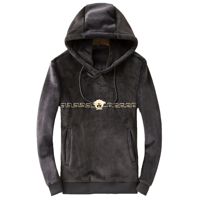 New autumn and winter men's hooded and thickened golden fleece moccasins. Fashionable and casual big size coat Hoodies, Sweatshi