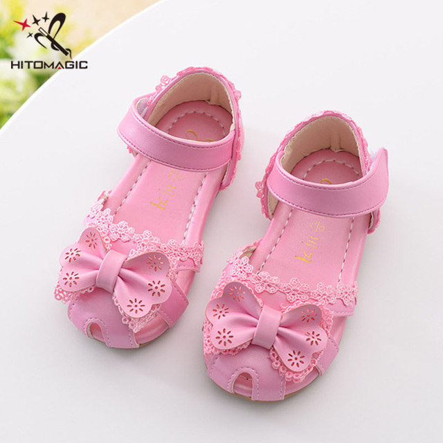 e6a19c9290828 HITOMAGIC 2017 Kids Shoes Sandal Girls Leather Kids Girl Summer Shoes  Bowtie Baby Sandals Soft Leather Children Footwear Pink