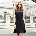 T-Inside Brand 2016 Women's Casual O-Neck Sleeveless Lace Office Work Dress with Hollow Out Pattern High Quality Hot