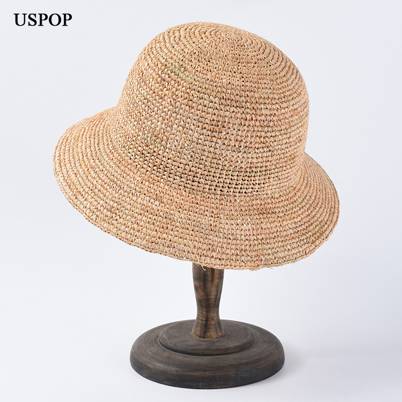 USPOP 2019 raffia sun hats for women solid color sun hats hand crocheted raffia straw hats casual all matched summer hats in Women 39 s Sun Hats from Apparel Accessories