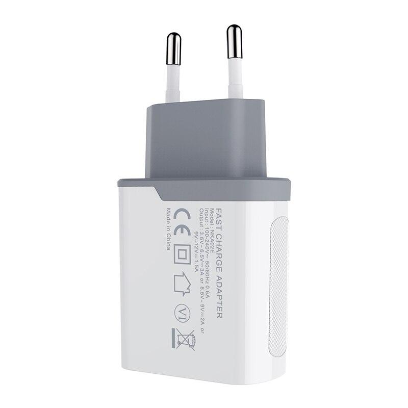 Nillkin QC 3,0 cargador de teléfono USB 3A cargador rápido US EU UK cargador de viaje USB cargador de pared para xiaomi para huawei oneplus 6