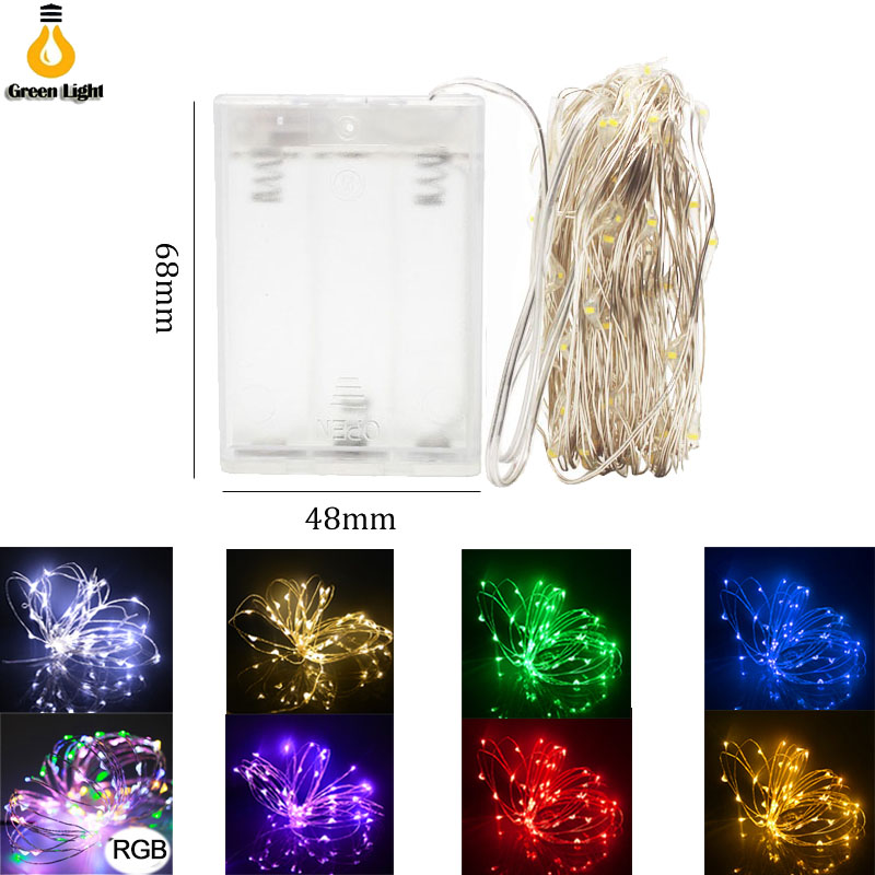 Cadena de luces LED 10 m 5 m 2 M alambre M de plata Hada luz Navidad fiesta de boda decoración alimentada por batería USB tira de lámpara led