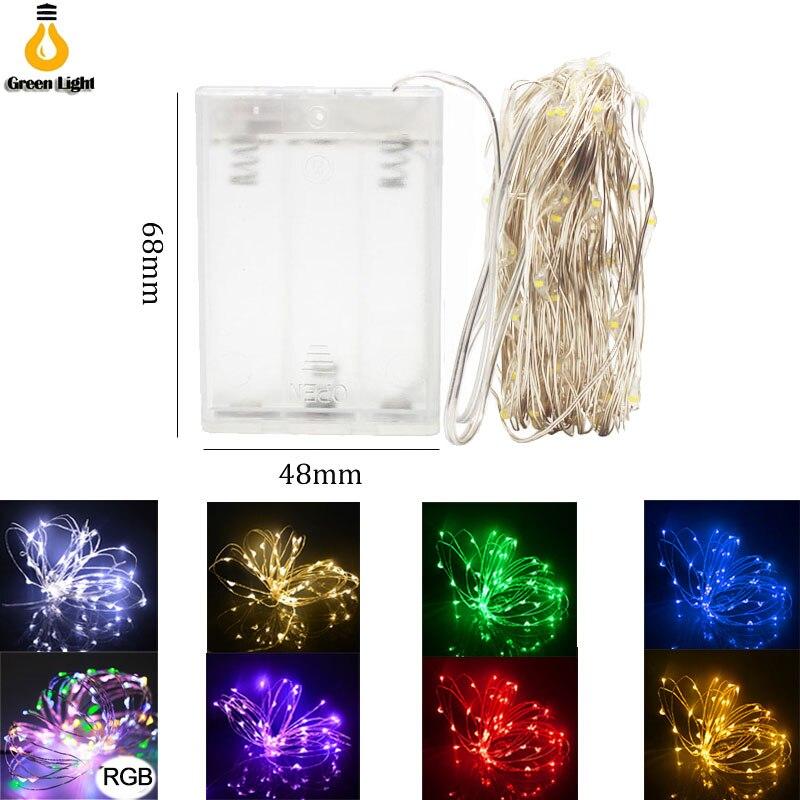 Cadena de luces LED 10M 5M 2M alambre de plata Luz de hadas Navidad decoración de fiesta de boda alimentado por batería lámpara de tira led USB