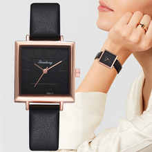 Top Brand Women Bracelet Square Watch Contracted Leather Crystal Wristwatches