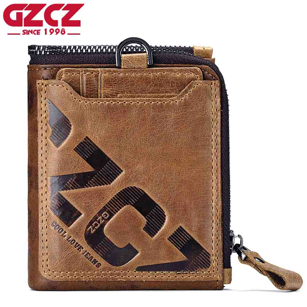 GZCZ Crazy Horse Genuine Leather Men Wallet Coin Purse Card Holder Small Walet Portomonee Male Clutch Zipper Clamp For Money gzcz genuine leather men wallet fashion coin purse card holder small wallet men portomonee male clutch zipper clamp for money