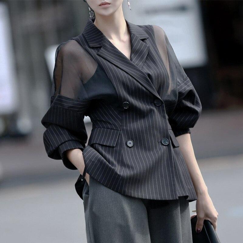 Plus Size Striped Blazer Women Batwing Sleeve Office Blazers Ladies Double Breasted Womens Spring Jacket Mesh Casaco Feminino