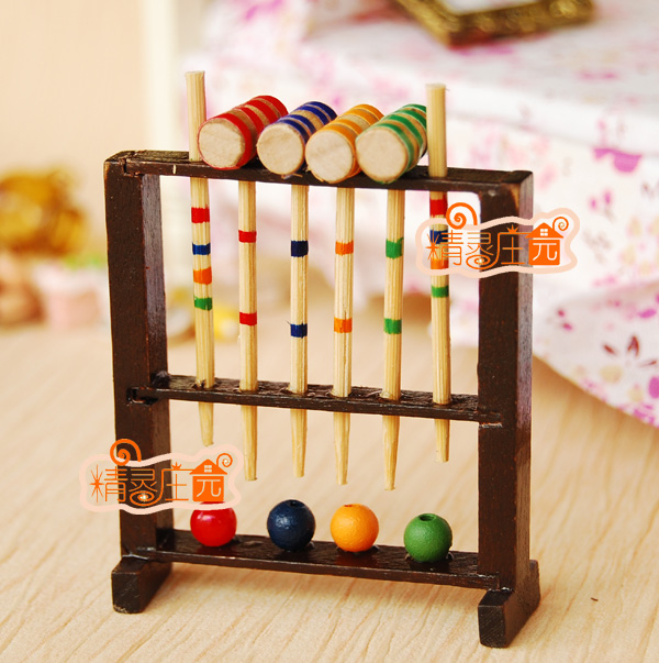 G05-x4434 одежда для малышей подарок игрушка 1:12 кукольный домик мини Мебель миниатюрный rement-деревянная садовая Игры В Крокет комплекты