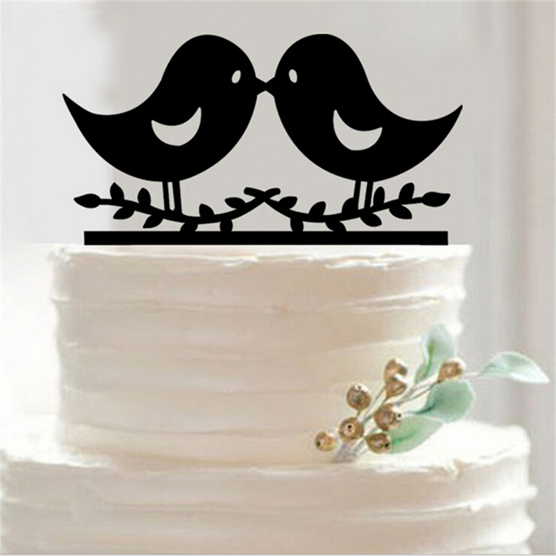 Free shipping black acrylic couple bird wedding cake topper wedding free shipping black acrylic couple bird wedding cake topper wedding cake stand decoration mariage cake decorating party supplies in cake decorating supplies junglespirit Image collections