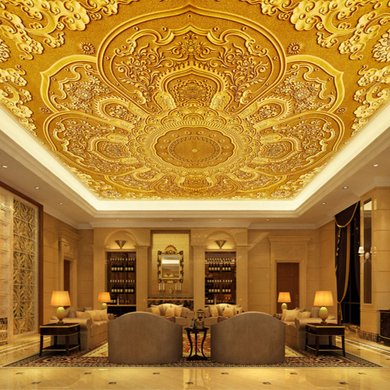 3d high quality modern fashion photo wallpaper luxury gold europe flower pattern ceiling wall mural for living room hotel hall fashion europe style luxury high quality