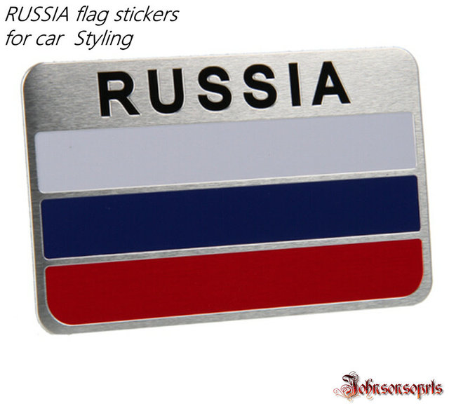1 pcs russia flag sticker aluminum alloy flag badge emblem decal car stickers for car styling