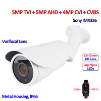 IMX326 CMOS CCTV Camera 4in1 5MP TVI 4MP AHD CVI IP66 Surveillance Cameras IR CUT DNR