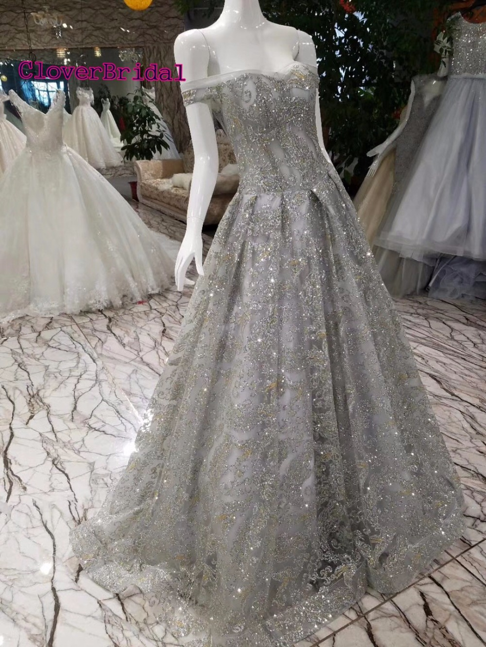 CloverBridal high quality off-the-shoulder floor length shinning glitter prom dresses 2018 A-line corset back gold