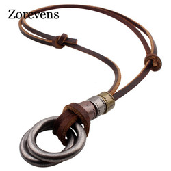 ZORCVENS European Foreign Trade Pendeloque Cut Cowhide Leather Rope Ornaments Pendant Necklace