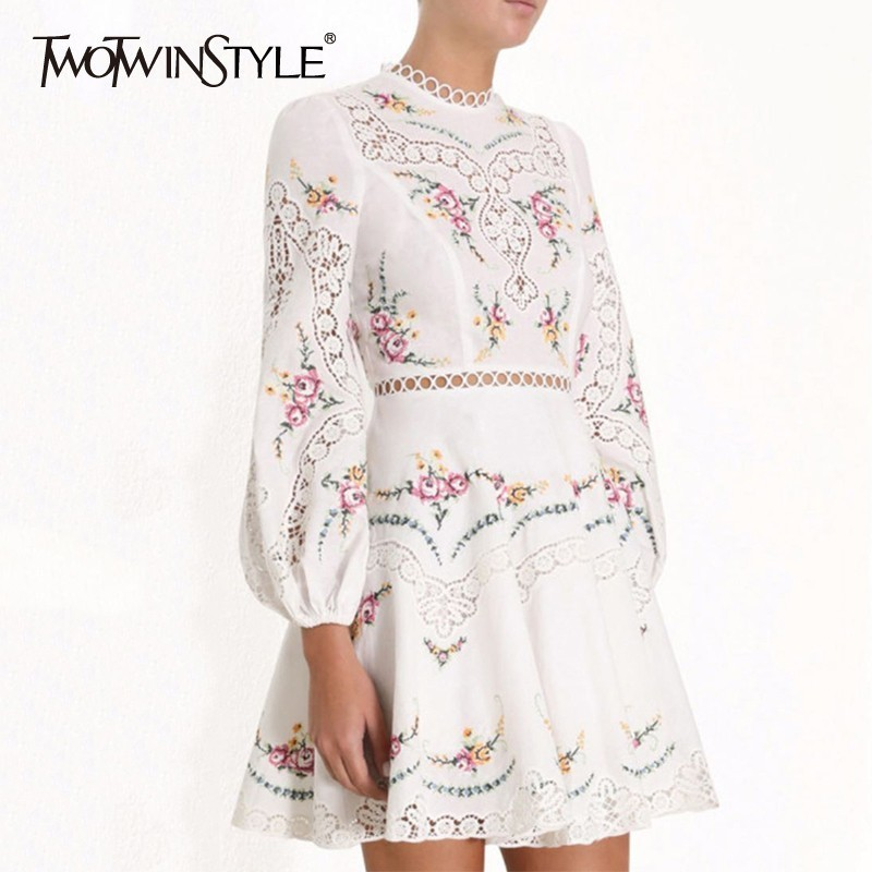 TWOTWINSTYLE Summer Embroidery Mini Dress For Women Stand Collar Long Sleeve High Waist Hollow Out Dresses