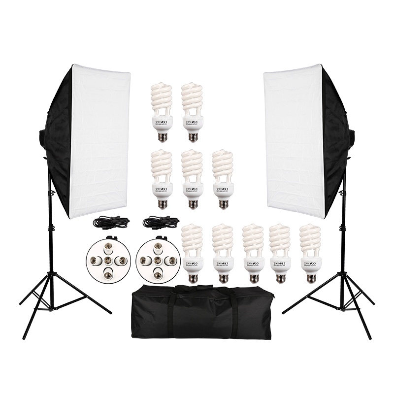 Photo Studio Video Continuous Lighting Kit Photography Light Stand Two 50 * 70cm Softbox Ten Bulbs Two Light HolderPhoto Studio Video Continuous Lighting Kit Photography Light Stand Two 50 * 70cm Softbox Ten Bulbs Two Light Holder