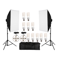 Photo Studio Video Continuous Lighting Kit Photography Light Stand Two 50 * 70cm Softbox Ten Bulbs Two Light Holder 50 70cm continuous lighting softbox 4 lamp holder cross bar double pulley horizontal arm photography kit 45w 5500k bulbs 4pcs