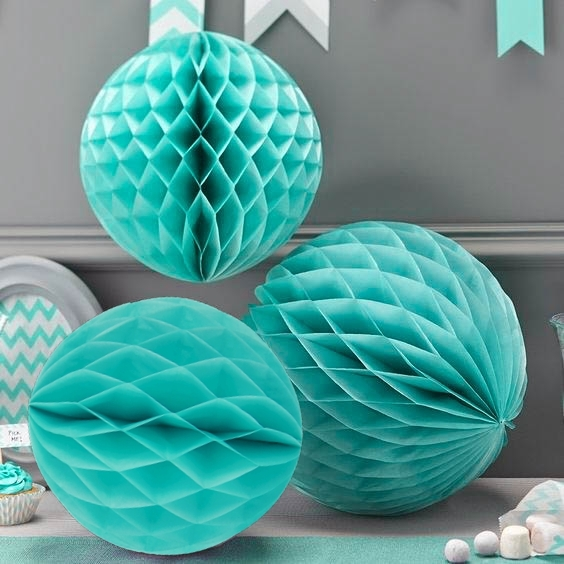 3pcs Mixed Size (15cm/20cm/25cm) Turquoise Blue Tissue Paper Honeycomb Ball Hanging Decor for Wedding/Birthday