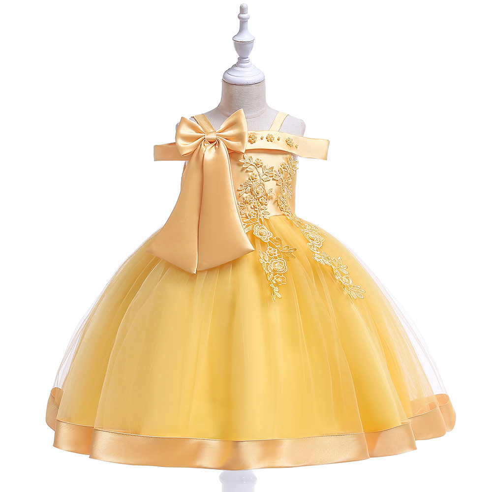 A-Line Lace Yellow   Flower     Girl     Dresses   For Wedding First Communion   dresses   2019 Prom Evening Gowns with Pearls