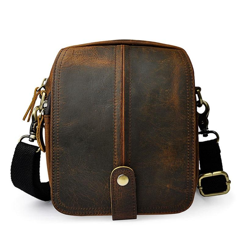 цена на Crazy Horse /Oil Wax Genuine Leather Shoulder Bag Men Vintage fashion Travel Casual Belt Fanny Waist Bag Belt Messenger Bags