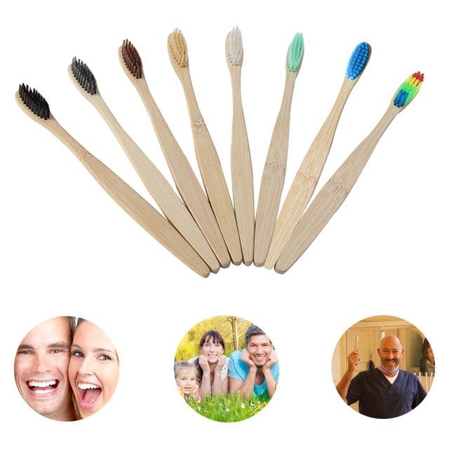 1 pieza de bambú Natural cerdas suaves cepillo de dientes Arco Iris mango de madera dientes WhiteningEco-amigable colorido cepillo de dientes para el cuidado bucal