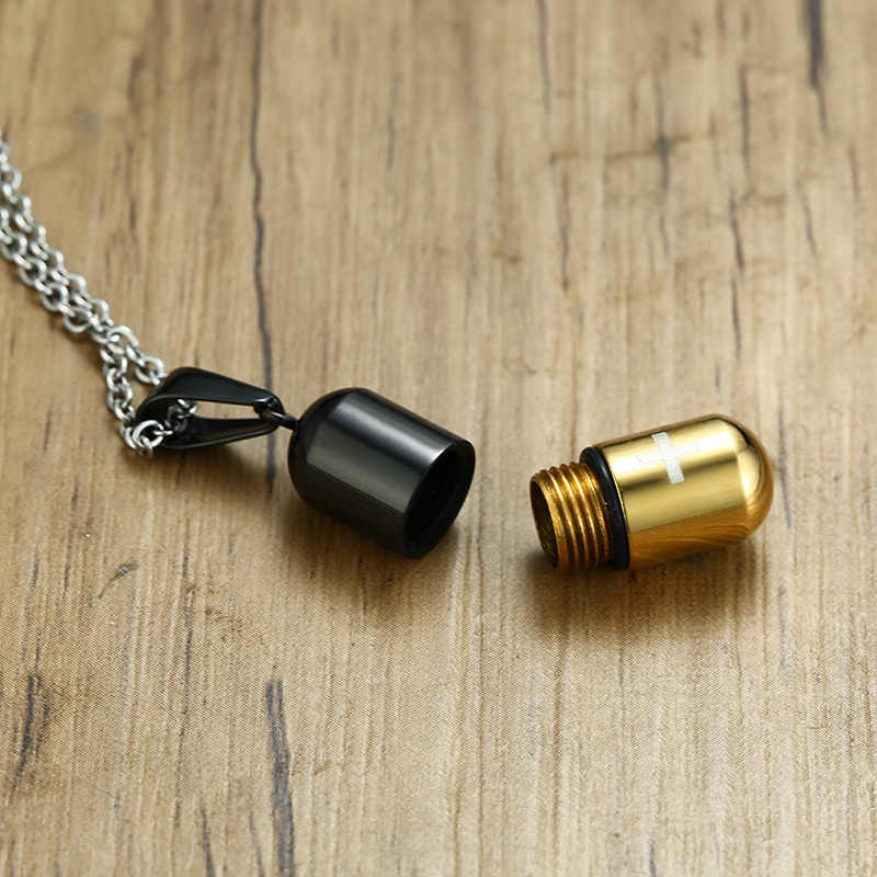 Stainless Steel Cross Men's Pendants Pills Openable Statement Male Necklace Black Gold Blue Silve Color Vintage Man Choker