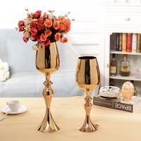 European gold plated Metal Flowers Vase modern vase for flowers home decoration vase flower vases for weddings HP071