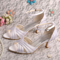 White Shoes Open Toe Cross Strap Buckle Satin Thin Heels Wedding Bridal Sandals