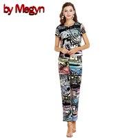 Megyn tarafından Marka Tasarımcısı Pist Suit Set 2017 kadın Kısa Kollu Pamuk Baskılı Moda Fermuar Tops + Uzunluk Pantolon DG2268