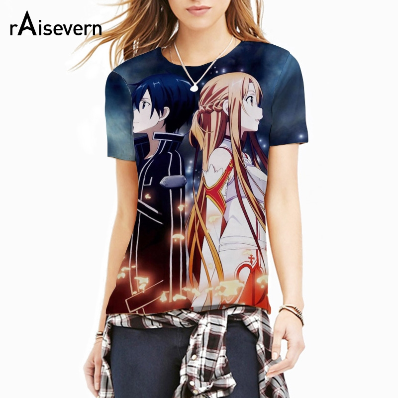detailed look c9344 aef38 US $9.06 16% OFF|Volle Druck Mode SAO T Hemd 3D Anime Schwert Kunst Online  T Shirt Frauen Männer Sommer Casual Tee Shirts Fitness Sommer tops ...
