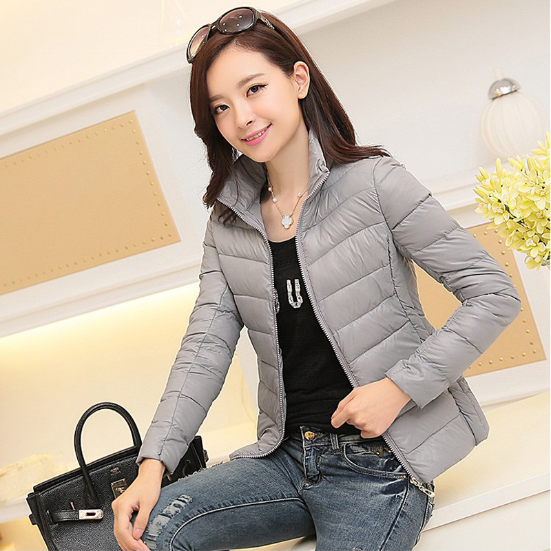 winter 2018 ultra light jacket women large size Korean Slim padded jacket Solid Female   Parka   and Jackets