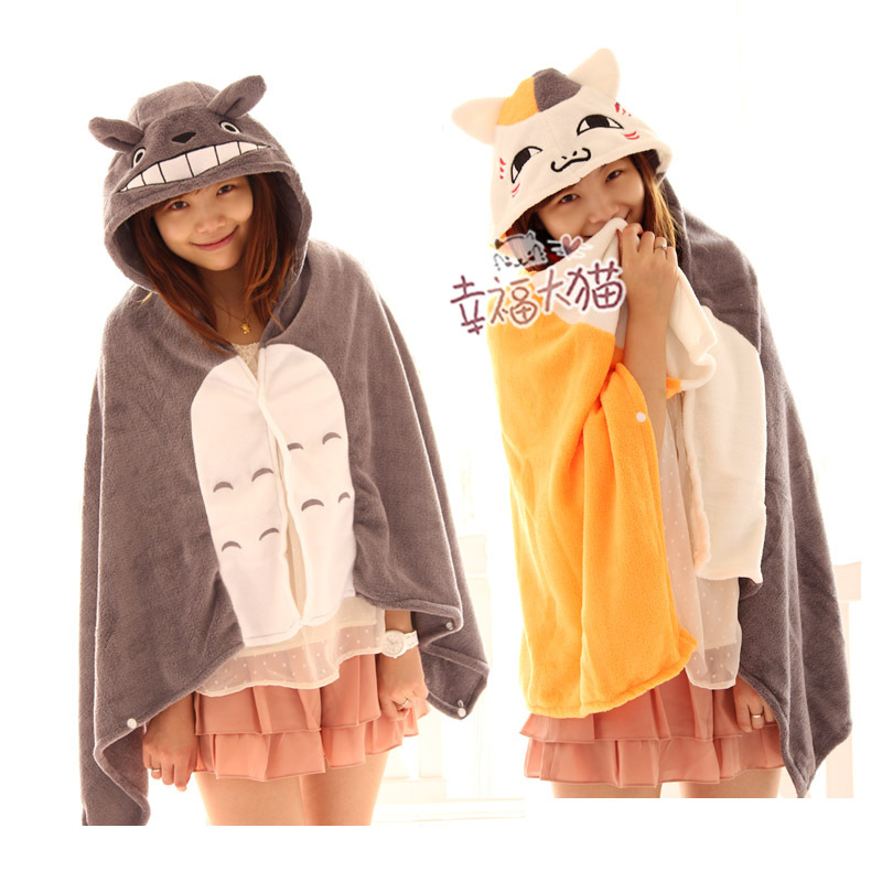 ФОТО free shipping children gift cartoon totoro teacher cat cloak cute cartoon cape coral fleece air conditioning blanket 1 pc a lot