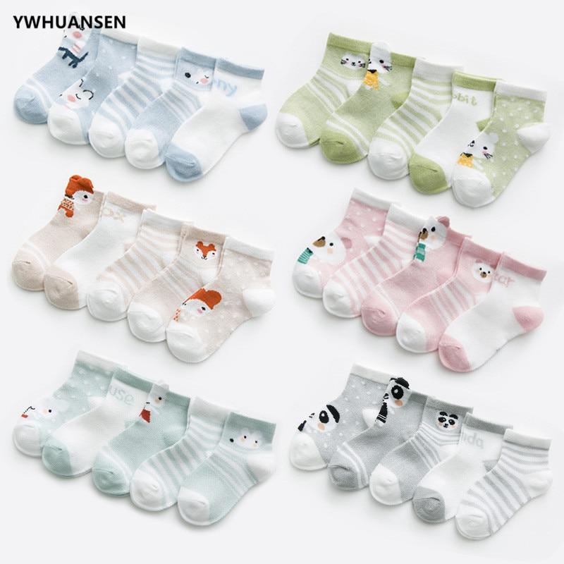 YWHUANSEN 5 Pairs/lot 0 To 8 Yrs Cotton Children's Socks Stereo Animals Summer Thin Kids' Mesh Socks Cute Girls Boys Socks