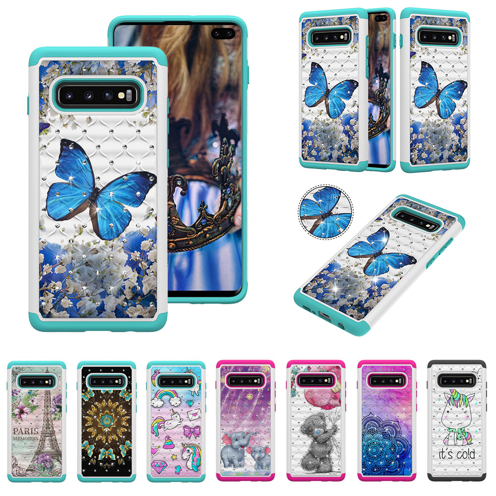 Luxury flash PC two in one cartoon phone case for Samsung Galaxy s10 lite plus back coque funda
