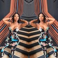 Women Rompers Summer Style V Neck Strap Floral Print Jumpsuit Slim Fit Body Feminino Playsuit D8032