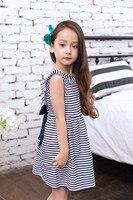 EMS/DHL Free shipping 2017NEW!Children's Bow Dress INS Girl Princess Dress Cotton Summer Stripe V Collar
